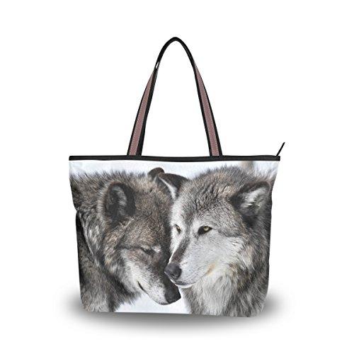 JSTEL Women Large Tote Top Handle Shoulder Bags Love Wolf Patern Ladies Handbag L