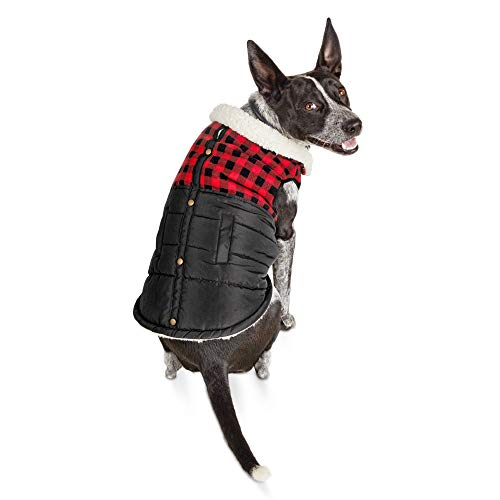 Bond & Co. Faux-Shearling-Lined Buffalo Check Flannel Dog Coat, Large