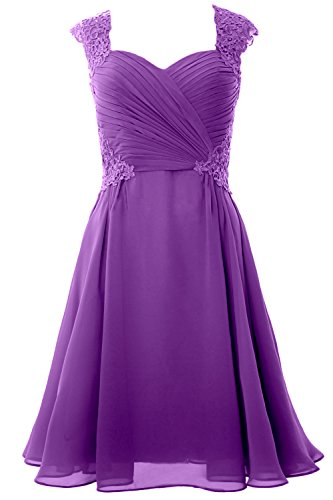 Cocktail MACloth Short Gown Party Formal 2017 Cap Sleeve Dress Women Wedding Amethyst trRqH7xt