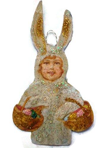Easter Tree Ornament Decoration Victorian Bunny Rabbit Child Handmade Holiday Gift (Rabbit Postcard Vintage)