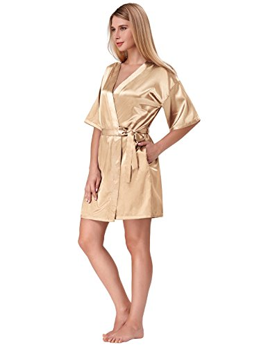 Satin Silk Lingerie Nightdress Women XL Night Sleepwear Kimono Robe Champagne Lace Dress Gown Champagne XL qwZqF