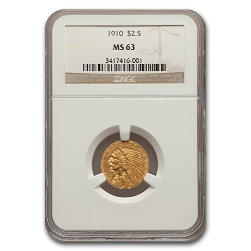1910 $2.50 Indian Gold Quarter Eagle MS-63 NGC $2.50 MS-63 NGC
