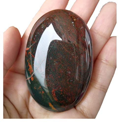 Loveliome Oval Worry Stones, Palm Pocket Healing Crystal Massage Spa Energy Stone(India Bloodstone)