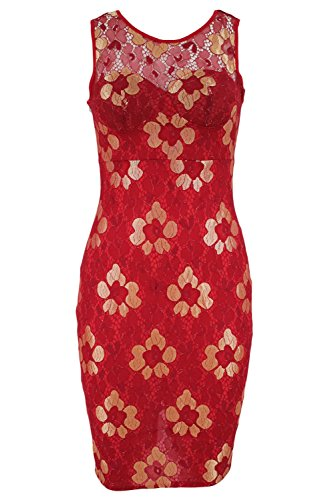 Nuevas señoras rojo y oro flor encaje Bodycon Mini vestido Club desgaste del partido noche baile fiesta vestido de verano tamaño m UK 10UE 38