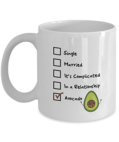 Single, Married, It's Complicated, In A Relationship, Avocado Coffee Mug, White, 11 oz - Unique Gifts By huMUGous