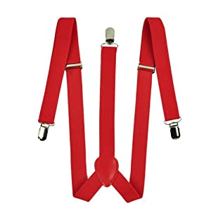 Zeagoo Men Women Clip-on Suspenders Elastic, Red, Size One Size Fits Most