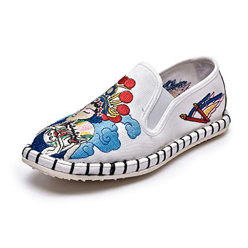 Retro Embroidered Shoes for Women, Huazi2 New Vintage Casual Flat Loafers White (Charles Barkley Shoes Red White And Blue)