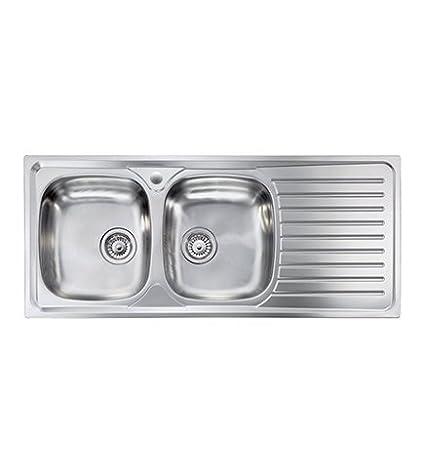Lavello cucina Siros ad incasso acciaio Inox,cm.116x50, 2 vasche a sinistra