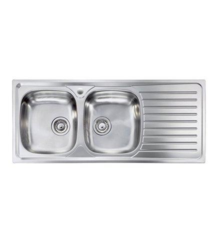 Lavello cucina Siros ad incasso in acciaio Inox completo di scarico misura cm.116x50 con 2 vasche a sinistra e gocciolatoio a destra