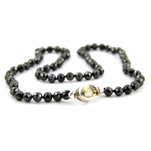 Barishh 75 Cts. Black Diamond Necklace.4 mm.AAA.Certified.18'' free Studs by Barishh