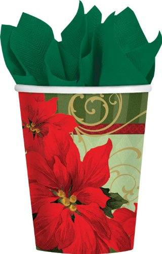 Amscan Vintage Poinsettia Paper Cups Christmas Party Disposable Drinkware (18 Pieces), Red/Green, 9 oz