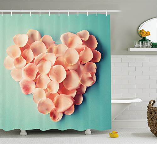 Coral Shower Curtain by Ambesonne, Heart Shaped Floral Petals Valentines Mothers and Wedding Day Sweet Still Life Icon, Fabric Bathroom Decor Set with Hooks, 75 Inches Long, Peach Mint
