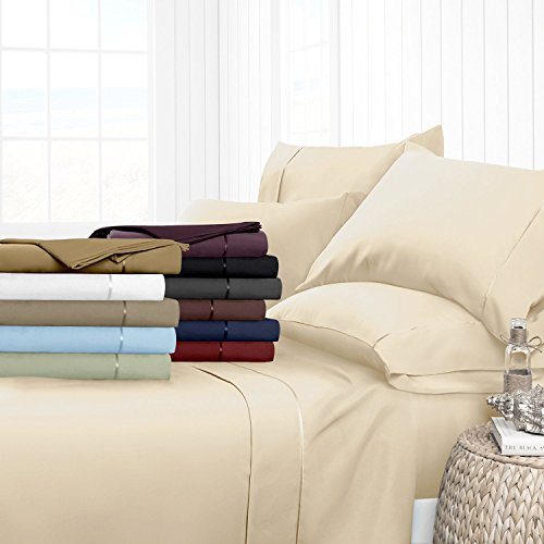 Egyptian Luxury 1700 Hotel Collection 4-Piece Bed Sheet Set - Deep Pockets, Wrinkle and Fade Resistant, Hypoallergenic Sheet and Pillow Case Set  - King, Cream