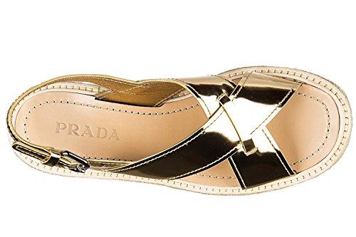 Prada Mujer 1XZ4133U0OF0522 Oro Cuero Sandalias