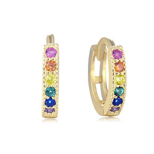 Rainbow Huggie Hoops - 18k Gold over 925 Sterling Silver Cubic Zirconia CZ Earrings for Women