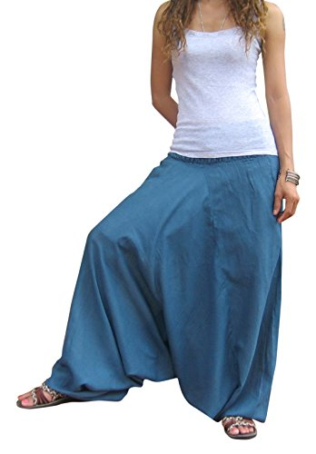 Billy's Thai Shop Harem Pants Aladdin Pants Harem Yoga Pants For Women & Men One Size Fits Most. Blue (Billy Blues Wide Leg)