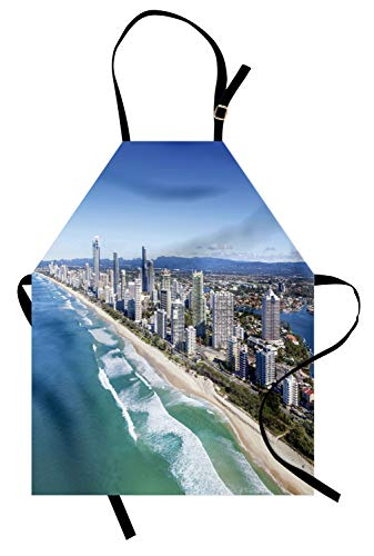Lunarable Australia Apron, Aerial View of Gold Coast Famous Queensland Panorama Shoreline Buildings Photo, Unisex Kitchen Bib Apron with Adjustable Neck for Cooking Baking Gardening, Multicolor -