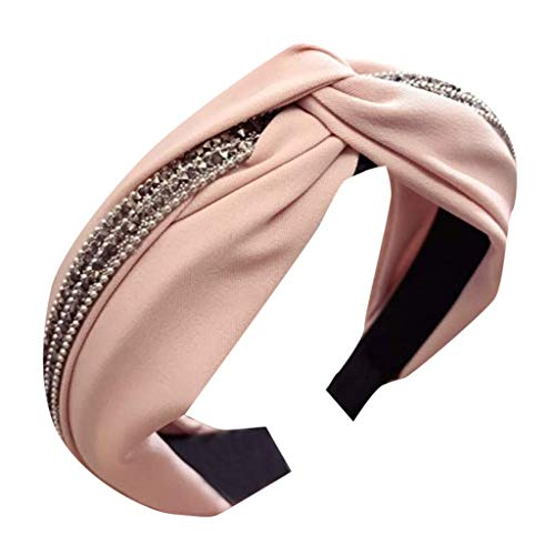Fashion Elastic Headbands, Solid Color Fabric with Diamonds Wide-Brimmed Girl Accessories Headband Cross Bow Headband