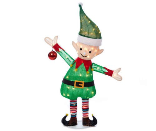 38 santas elf tinsel sculpture outdoor christmas yard lawn decoration seasonal display