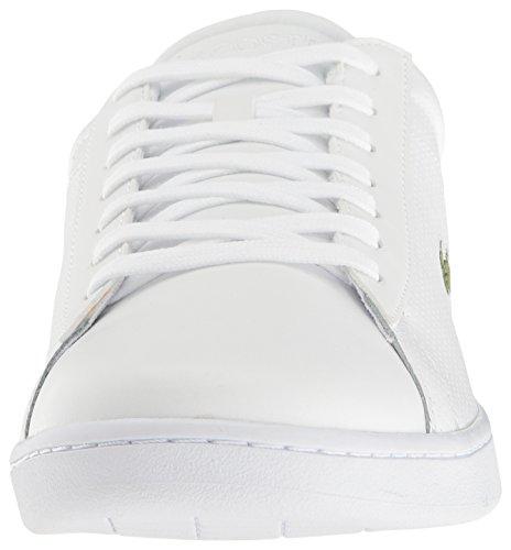 Mens Lacoste Carnaby Evo Sneaker Moda Perforata Bianco / Arancio