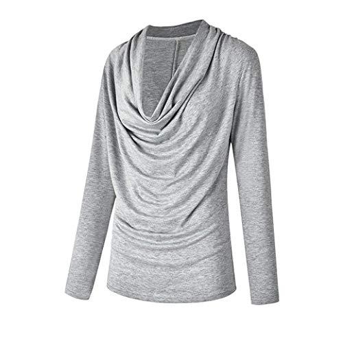 Bnitier Automne Gris Shirt Mode Tops Outwear Hiver Col Longues Manches Femmes T AIgp1q