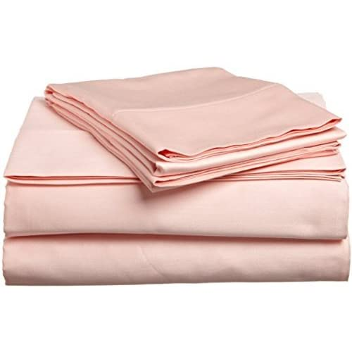 Laxlinen 350 Thread Count 100% Egyptian Cotton Super Quality 1PC Flat Sheet(Top Sheet) Three Quarter/Small Double, Peach Solid supplier