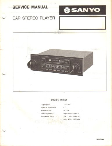 Sanyo FT604 FT 604 Car Stereo Player Service Manual