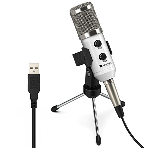 USB Condenser Mic Fifine Plug & Play Desktop Microphones For PC/Computer(Windows, Mac, Linux OX), Podcasting, Recording-White(K056) by FIFINE TECHNOLOGY