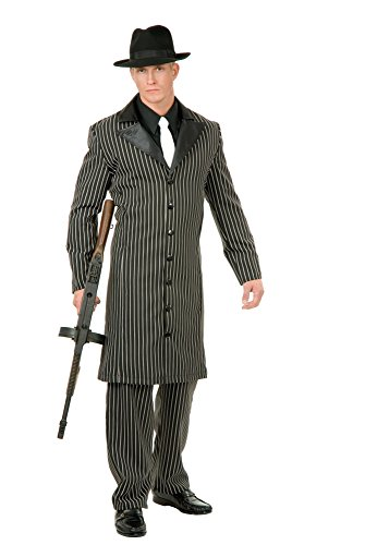 Charades Men's Gangster Costume Coat, As Shown, Medium (Long Gangster Suit Costumes)