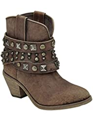 Corral Boot Company Womens Studded Stap Shortie Cowgirl Boots 7 B(M) US Cognac