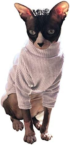 Bonaweite Hairless Cats Vest Turtleneck Sweater, Breathable Adorable Cat Wear Shirt Clothes, Cat's Pajamas Jumpsuit for Sphynx, Cornish Rex, Devon Rex, Peterbald 19