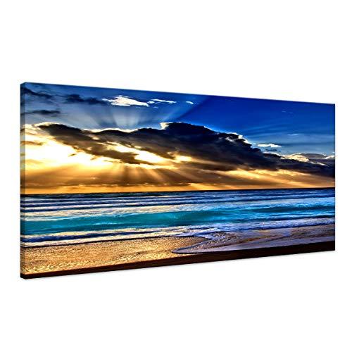Wall Art Decor Sea Beach Sunrise Blue Ocean Landscape Paintings Bedroom Canvas Wall Art Print Wall Art for Living Room Paintings for Wall Decor and Home Decor Frame Artwork ()