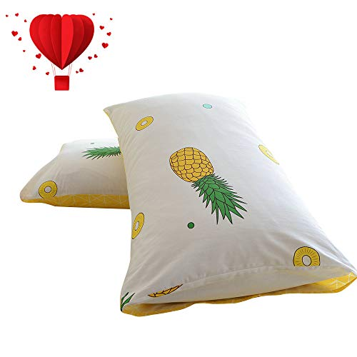 - BuLuTu Cotton Pineapple Print Bed Pillowcases Set of 2 Queen Off White Pillow Covers Decorative Standard for Boys Girls Envelope Closure End-Premium,Ultra Soft,Hypoallergenic (2 Pieces,20