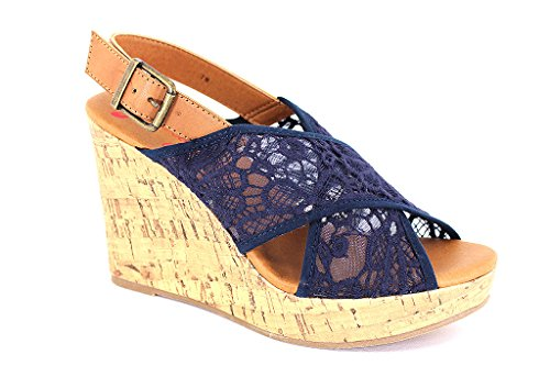 Jellypop Women's Peaches Navy Fabric Sandals 8.5 B(M) US