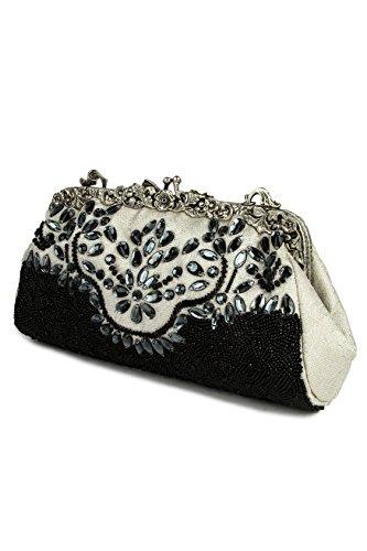 MyBatua Glamorous Riley bianco & nero della borsa di sera formale ACP-505