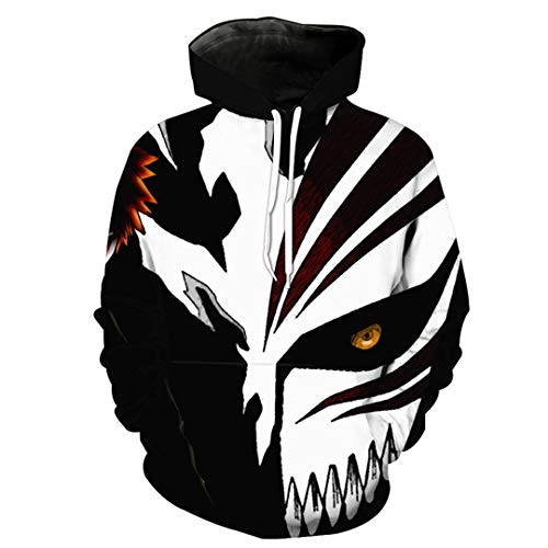 Bone Wolf Mask Hooded Sweatshirt Neutral Pullover Cool Street wear as The picture1563 S ()