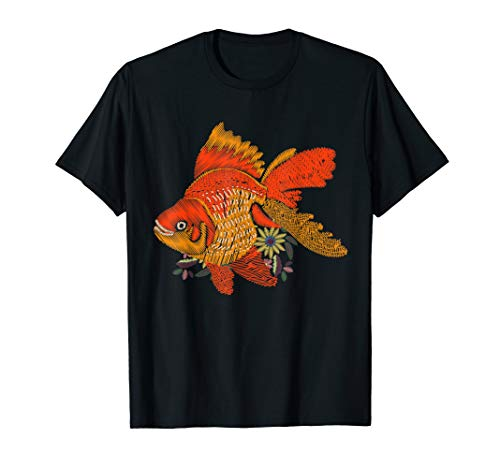 Japanese Goldfish Tshirt - Vintage Floral Embroidery Look