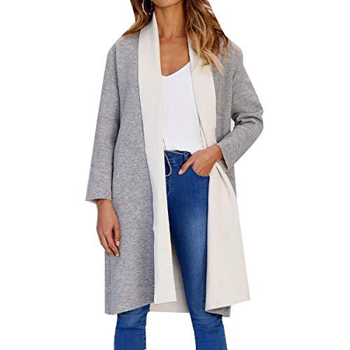 ZFFde Invierno Color Block Cardigan Coat Mujeres tallas grandes Abrigo abierto Invierno Thick Long Coats (Color : Grey, tamaño : M)