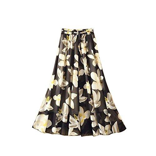 Femmes fte Long Bowknot Fleur t Longue Skirt Jupe Maxi Plage lastique Taille Noire Kaxuyiiy Bohmien Fleur pqdAR0U0