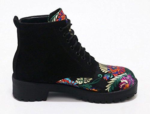 Aisun Damen Runde Zehen Stickrei Blumen Muster Blockabsatz Martin Boots Schnürsenkel Kurzschaft Stiefel Schwarz