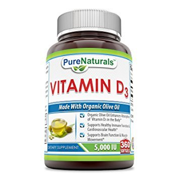 Pure Naturals Vitamin D3 5000 IU 360 Softgels * Organic Olive oil Enhances Absorption of vitamin D3 in the Body, Supports Healthy Immune Function & Cardiovascular Health,Supports Brain function * - 5000 Iu 360 Softgels