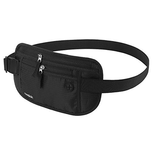 Premium Hüfttasche mit RFID-Blockierung von Auskio, Wasserabweisender Reise Bauchtasche Flache Bauchtasche/Geldgürtel zum Sport, Reisen und Joggen (für Damen und Herren)