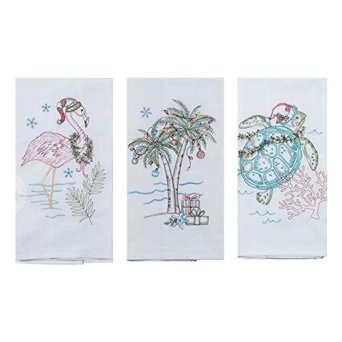 (Kay Dee Designs Coastal Holiday Embroidered Flour Sack Towels - Flamingo, Palm Tree, and Sea Turtle - Set of 3 Designs)