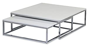 ASPECT Aspetto Oslo Set di 2tavolini da caffè/Nesting Table- Superiore in Legno/Metallo Cromato, Legno, Bianco