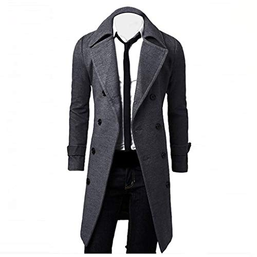HTHJSCO Men's Trench Coat Winter Long Jacket Double Breasted Overcoat (Grey, XXXL) by HTHJSCO