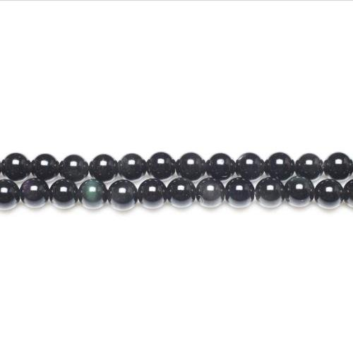 Strand of 44+ Black/Dark Green Rainbow Obsidian 8mm Plain Round Beads - (GS11056-2) - Charming Beads