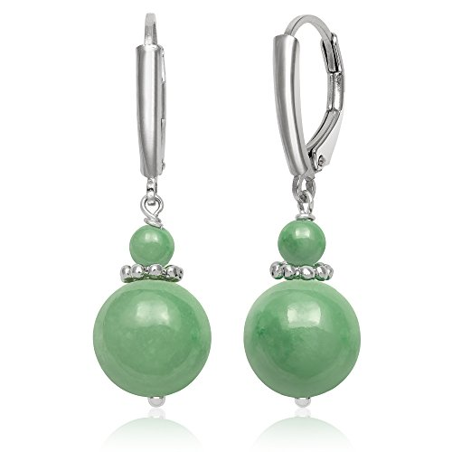 Green Jade Vintage (Sterling Silver Natural Green Jade Lever Back Drop Dangle Earrings)