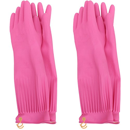 MJ 2 Pairs Household Hook Natural Rubber Latex Cleaning Wash Gloves Pink XL -