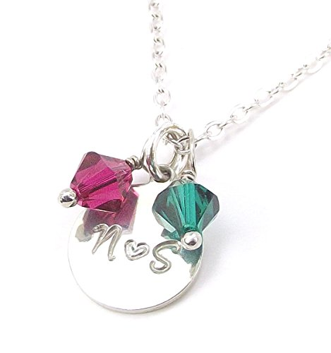 Personalized Two Initial Heart Pendant Necklace and Swarovski Element Birthstone Crystal Customized Gift (16, silver-plated-base) (Silver Personalized Heart Plated)