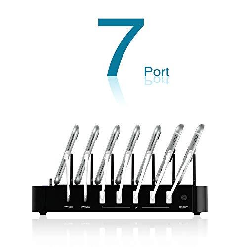 Kavalan 7 Port USB Charging Station Dock with 2 PD Charging Port, Charging Organizer Universal Desktop Tablet & Smartphone Multi-Device Charger Hub